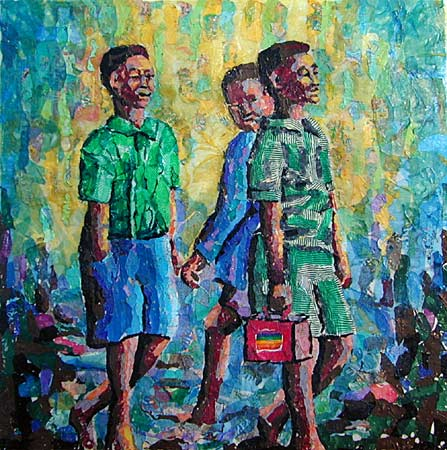 south african artist buthelezi plastic oil paintings