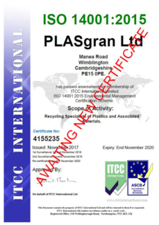 ISO 14001 2004 Certificate